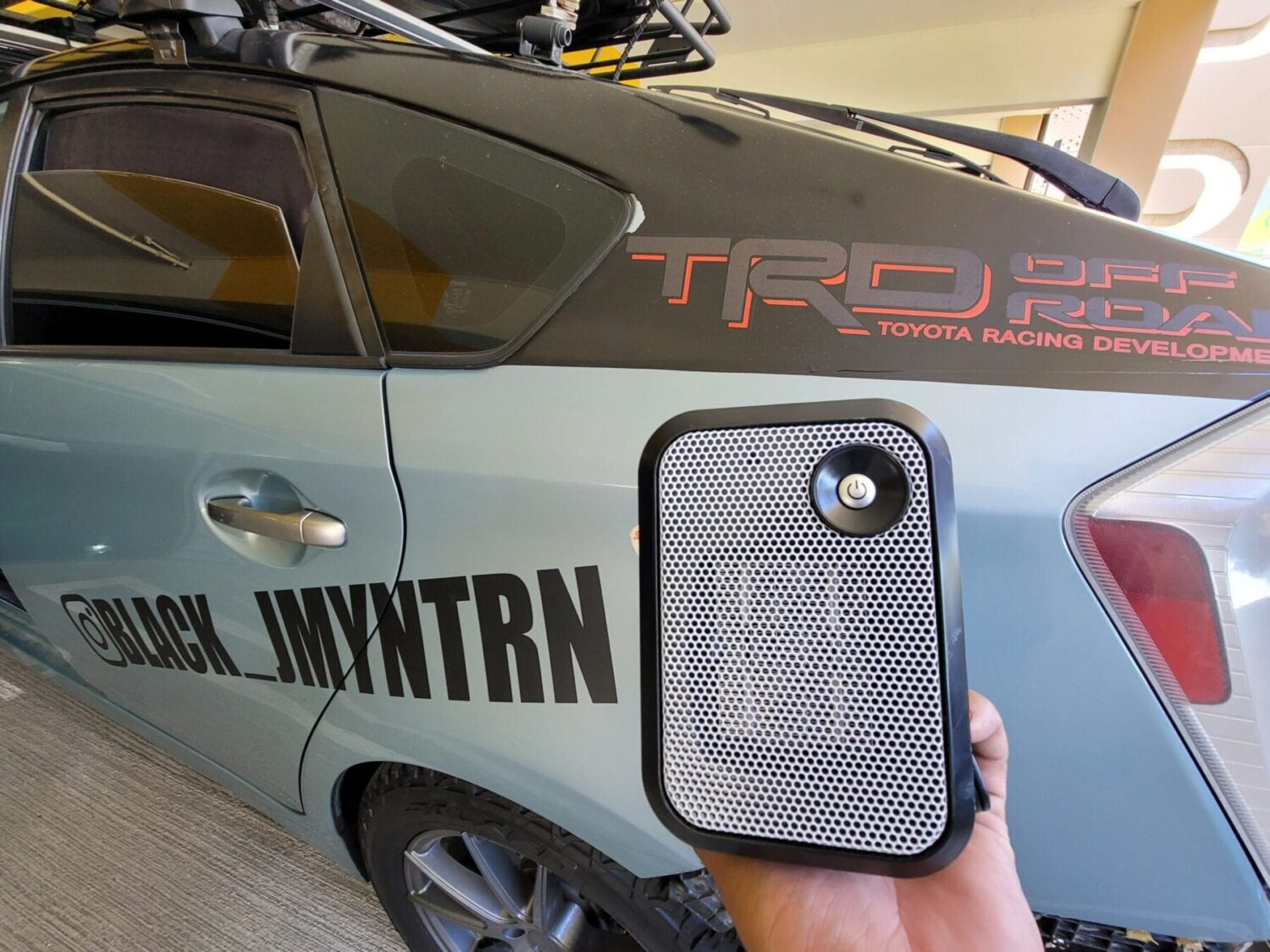 Electric Heater for Camping in a Toyota Prius with Lift Kit and All Terrain Tires